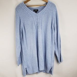 Avenue Light Blue Knit Chenille Sweater